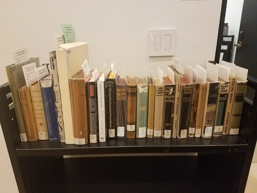 A row of Harlem Renaissance books on a library cart.