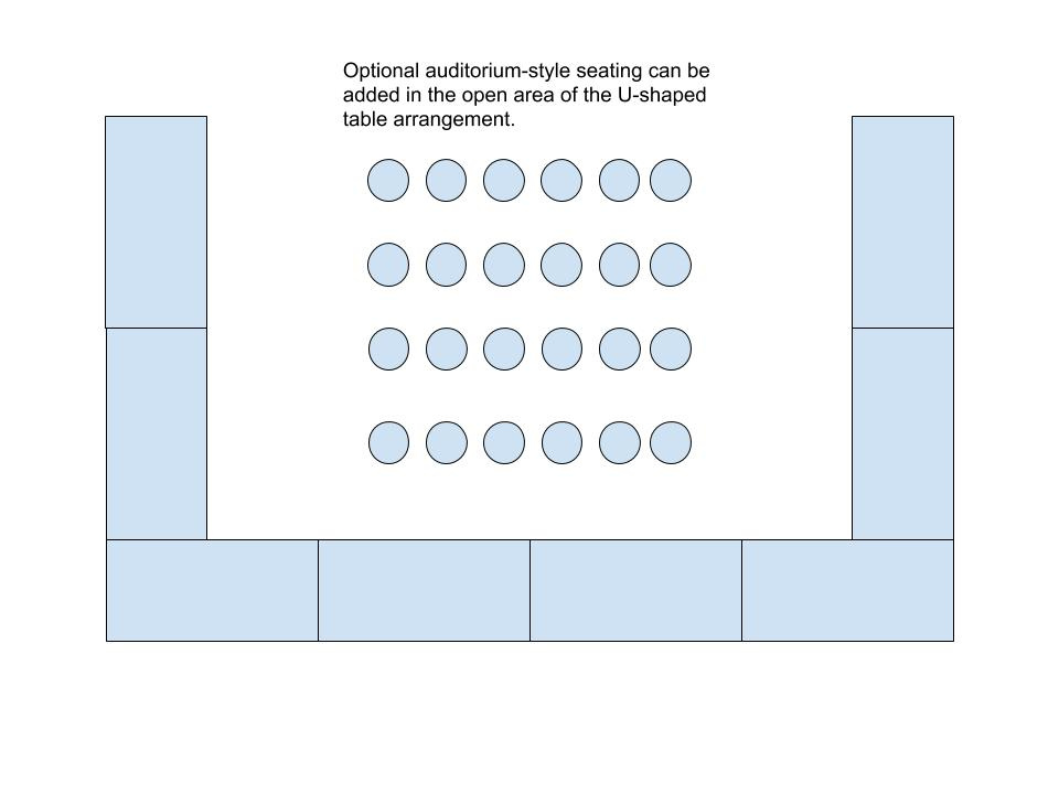 Diagram of optional auditorium-style seating can be added in the open area of the U-shaped table arrangement.