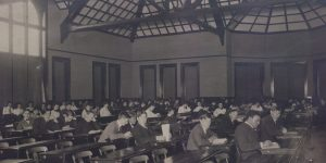 Photograph of a classroom from 1890