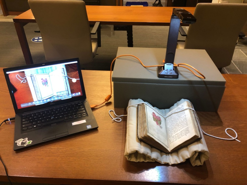 Image shows a Hovercam connected to a laptop that is scanning a printed book. The book is resting on a book cradle.
